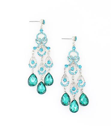 Teal / light green rhinestone earrings Dangle Chandelier Pageant Earrings image 1