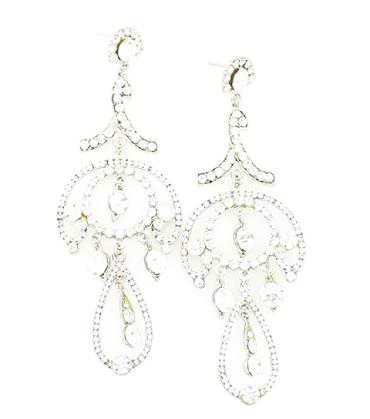 Clear Rhinestone Bridal Earrings image 1