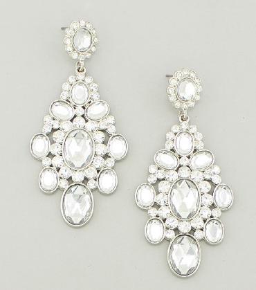 Clear Crystal Rhinestone Earrings image 1
