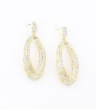 Gold and Clear Crystal Rhinestone Hoop Earrings image 1