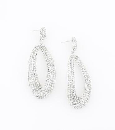 Clear Rhinestone Hoop Earrings image 1