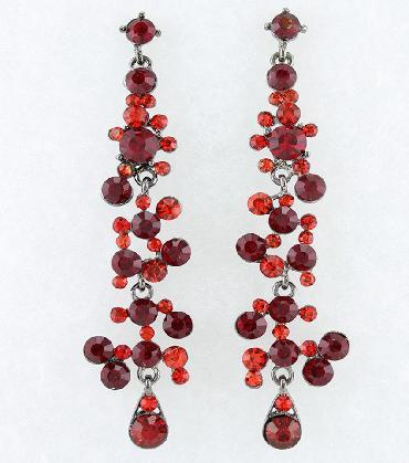 Long Drop Red Rhinestone Earrings image 1