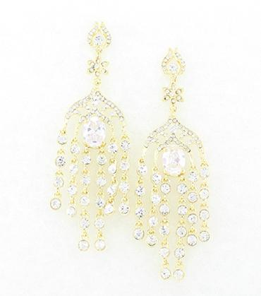 Clear/ Gold Rhinestone Statement Pageant Earrings image 1