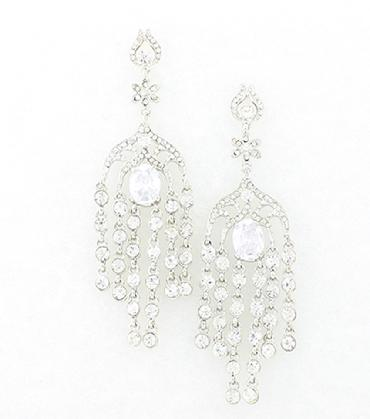 Statement Clear Rhinestone Pageant Earrings image 1