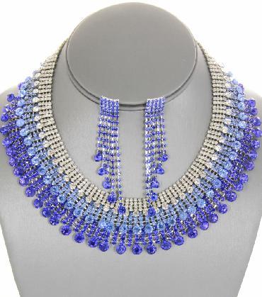 3 tone Blue Statement Necklace Set image 1