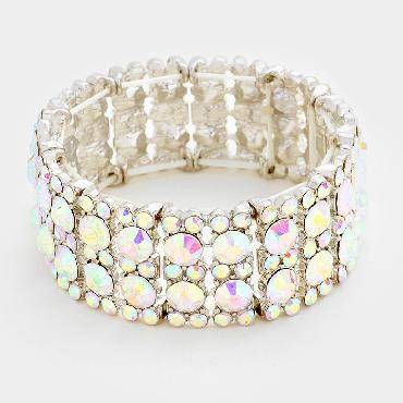 AB Crystal Stretch Pageant Bracelet image 1