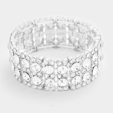 Clear Rhinestone Stretch Pageant Bracelet image 1
