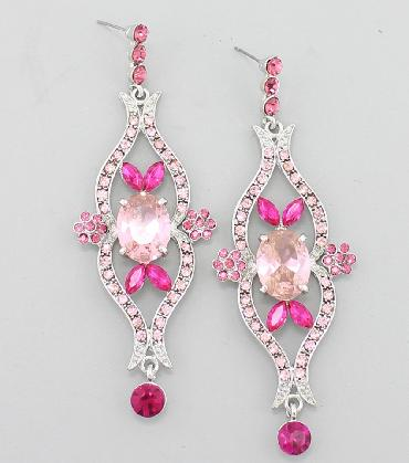 Pink Rhinestone Dangle Prom Earrings image 1
