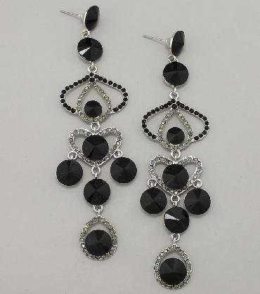 Black Rhinestone Long Dangle Pageant Earrings image 1