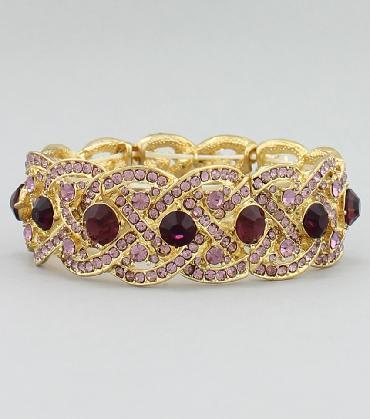 Purple Rhinestone Bracelet image 1