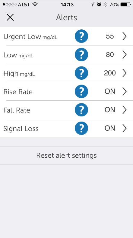 G5 Mobile App Alert Settings