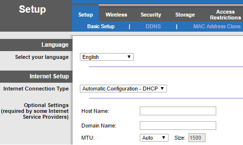 Linksys Wi-Fi Router's web interface
