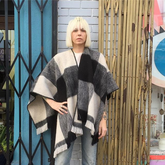 VACATION - Stay warm this never ending winter ⛈🌦🌧in this Big Bad black, cream, and grey throw/poncho!! You will literally never want to take this off!!! Made of brushed wool!! Open size: