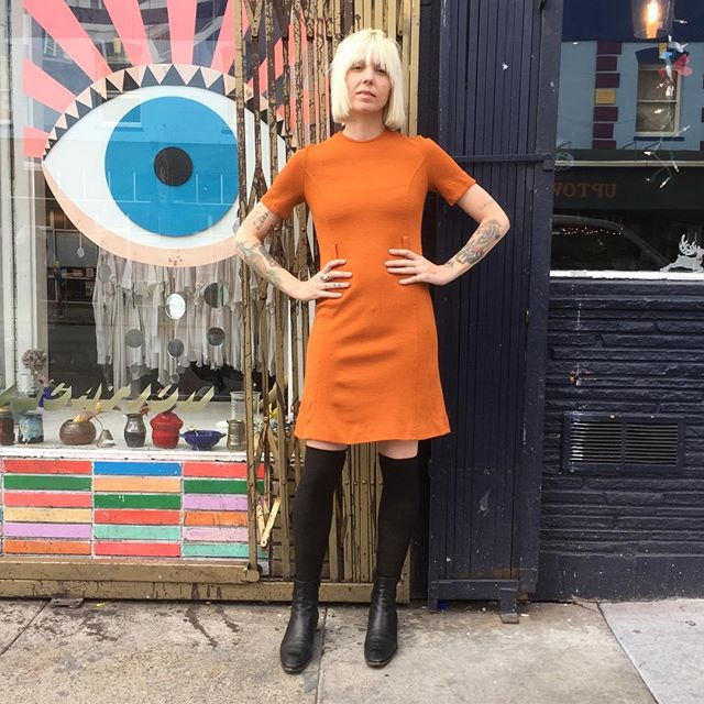 "VACATION - Add a pop of color to your wardrobe 🍊🍊!! This vintage #PENDELTON orange wool dress will keep you warm and juice up your wardrobe!!! Cut with a cute 1960's scallop hem!! This beauty is made of pure virgin wool that is soft (not itchy)!! There are belt loops, but he belt is missing!! You can put your own belt on or wear without a belt!! The bust measures 28"", and length 36""!! Fit's size: Small."