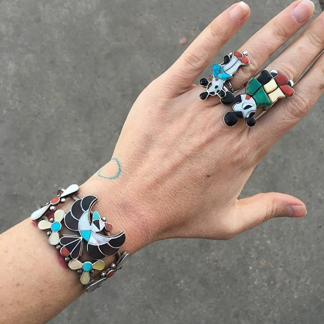 "VACATION - 🔥HOLY HELL 🔥Like a Phoenix from the ashes and onto your wrist. This crazy #ZUNI inlay cuff- tortoise shell, mother of pear, turquoise, coral and a whole lotta sterling signed by ""LA"". These are easily much more than the"