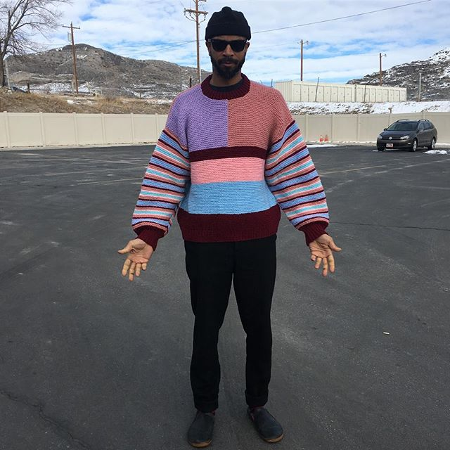 VACATION - Look! Grandma made a weird #handknit #colorblicked sweater and she never dreamed we'd find it and it would look hella cool on a tall man. Acrylic knit- would be rad oversized on a lady. Men's XL