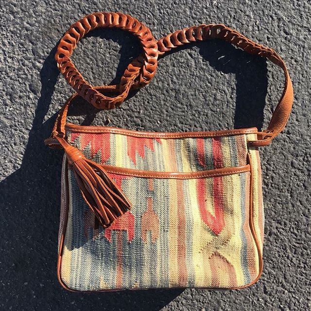 "VACATION - Beautiful and sturdy Turkish #killim purse with leather strap and tassel!! Has two compartments inside  and a snap closure 9""x11""x8.5"""