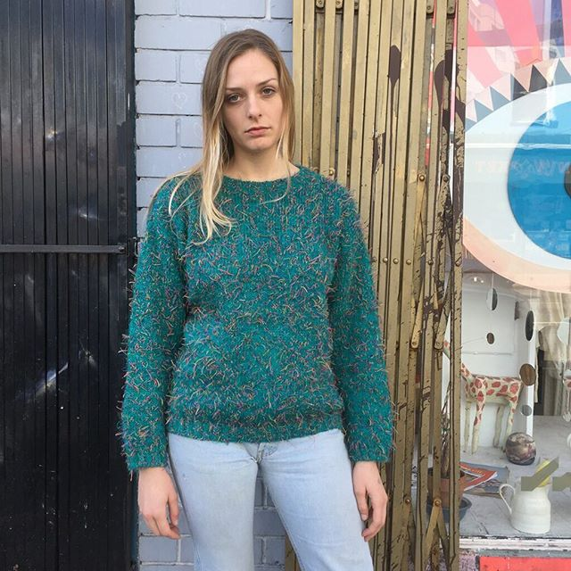 VACATION - 1980's #PASTA brand sweater! A blend of mohair, acrylic, and polyester that turn into a turquoise confetti masterpiece! Size S/M