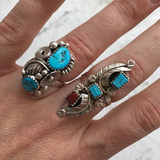 VACATION - Two #Navajo #nativeamerican sterling silver and turquoise rings. Modern Navajo ring on the left, size 6.5-7