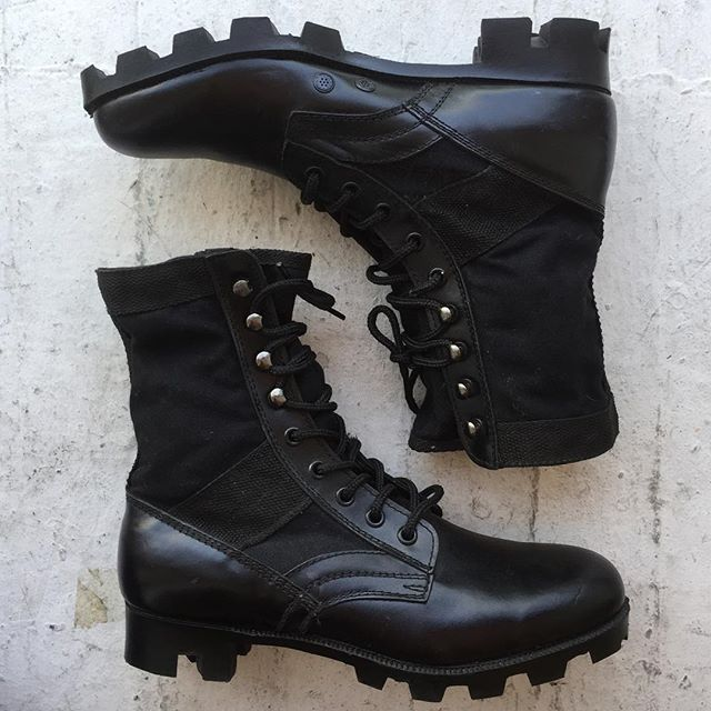VACATION - Everyone needs a black combat boot!! These vintage army #deadstock boots are like new!! Made of canvas and leather.  They have a lug sole!! Kanye, Aliyah, Laurie Petti,  and Janet approve of this public announcement!! We all need the perfect lace up boot!! Men's size 10, women's 10 1/2.