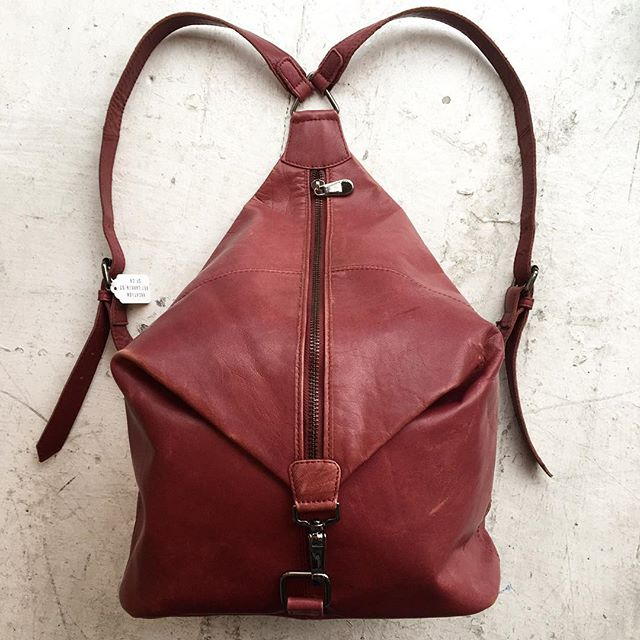 "VACATION - Red red wine🍷colored leather backpack! Adjustable straps. About 11.5"" tall, 5.5 deep, 12"" across."