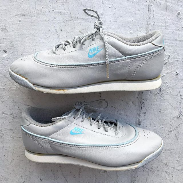 113fbaaddc7 c1988 cadet grey walking   running  Nike low top sneakers with sea foam  piping and swoosh™ logo in baby blue. Women s size 8. Some yellowing of  glue.