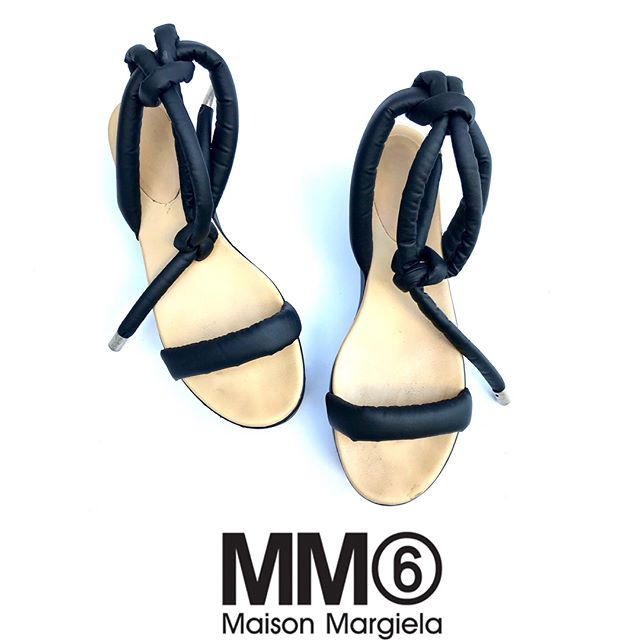 ReLove  -  SHOES: Maison Martin Margiela MM6 platform sandals with black leather, puff ankle and toe straps, nude leather sole, size 41 / 10.5