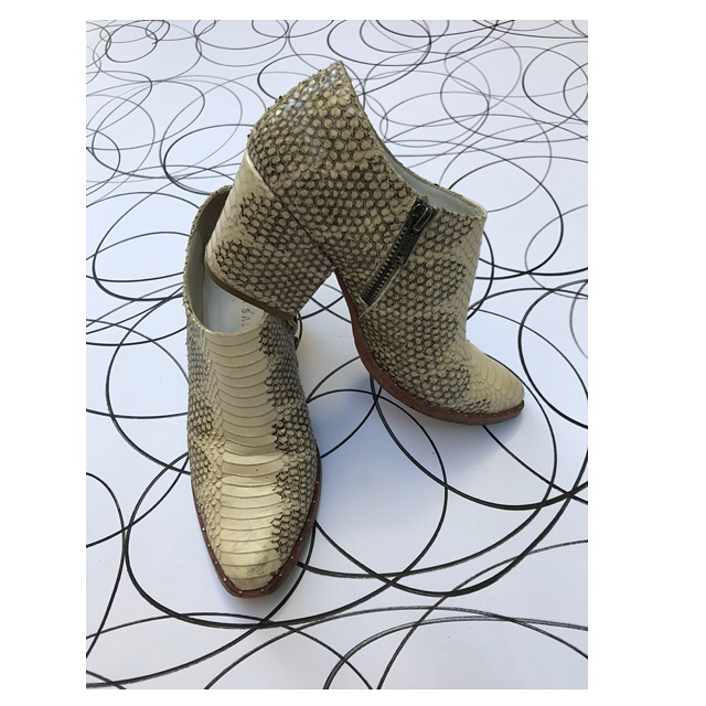 ReLove  - SHOES: Freda Salvador Python embossed leather heeled ankle bootie. Worn to perfection, size 6,
