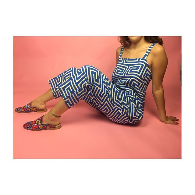 ReLove  - JUMPSUIT: Dusen Dusen Blue And White Geometric Pant Jumper.