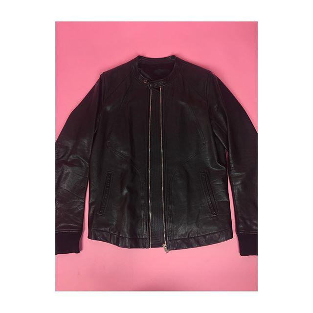 ReLove  - JACKET: Rick Owens Men's Black Leather Zip