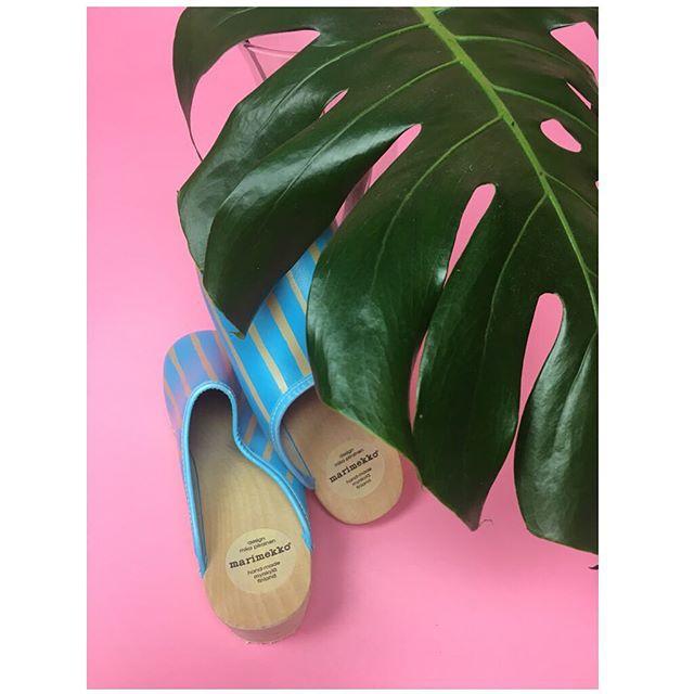 ReLove  - SHOES: Marimekko Blue Stripe wooden heel clog w