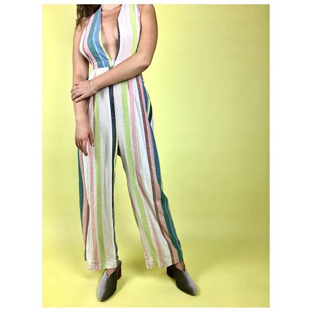 ReLove  - JUMPER: Free People linen blend drop neck jumpsuit.