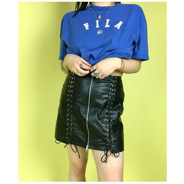 ReLove  - SKIRT: Vintage leather skirt, with front zipper and side lace-ups.