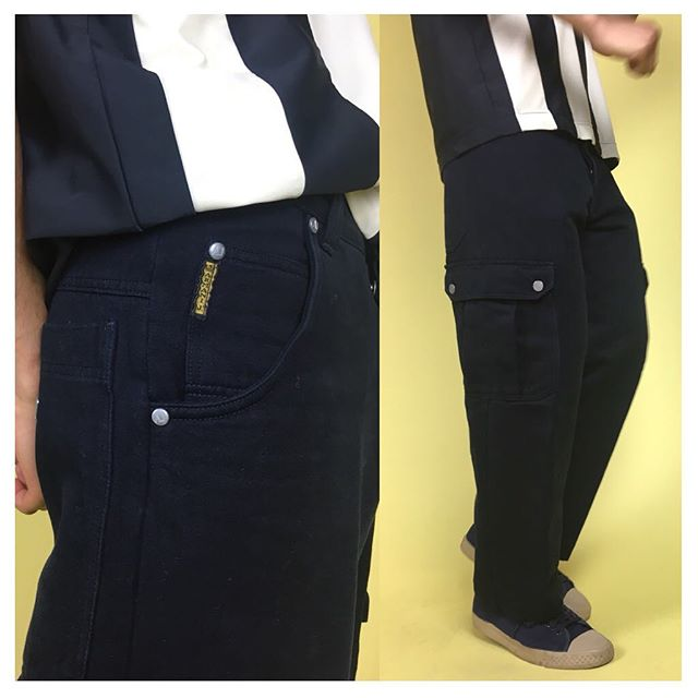 ReLove  - PANTS: Armani Wide Leg Twill Navy Cargo