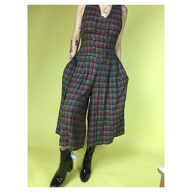 ReLove  - Jumpsuit: Vintage Plaid Wide Leg Jumper.