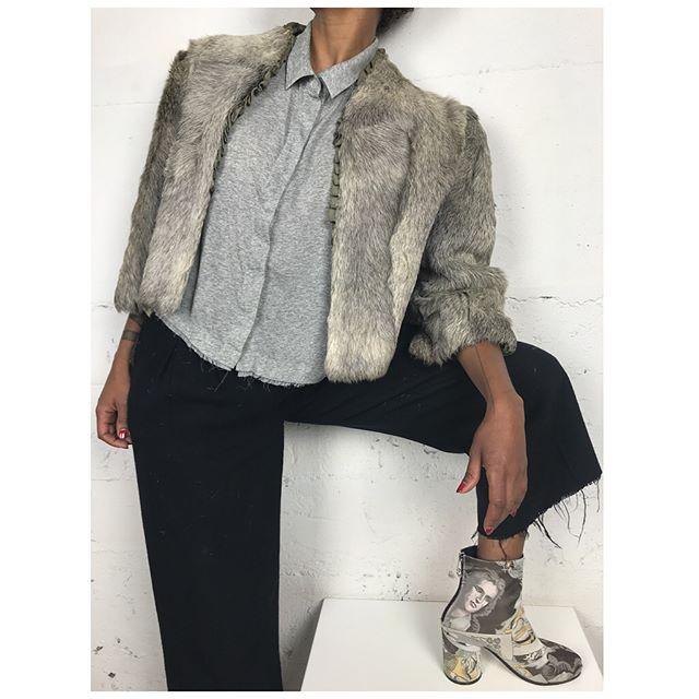 ReLove  - FUR: Vintage Fox Fur cropped coat, raw silk lining