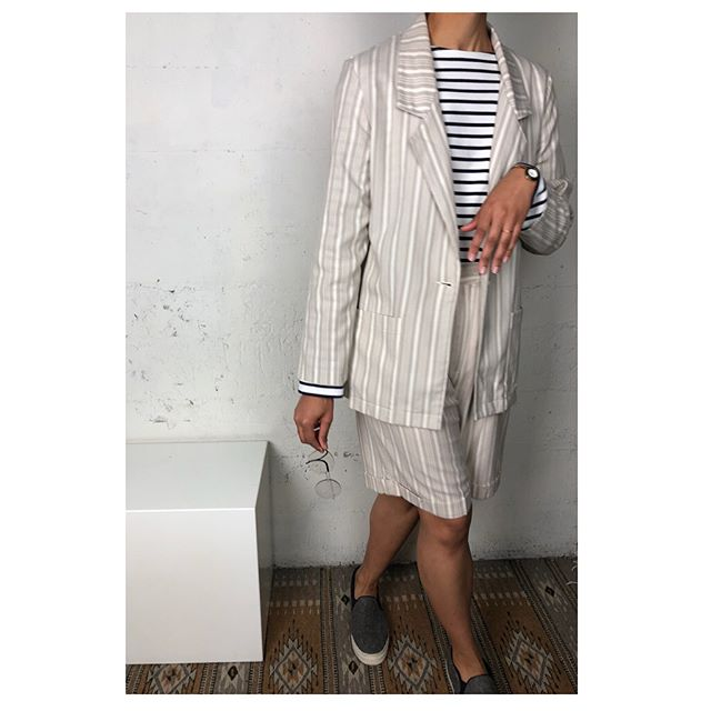 ReLove  - SET: Vintage Two Piece Set. Cream and Beige stripes with single button closer on the Blazer.