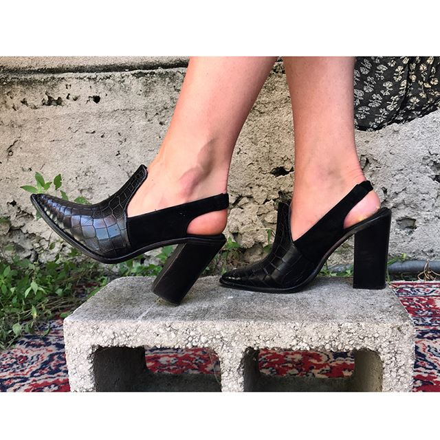 ReLove  - SHOES: Tibi pointed toe croc embossed stacked heel.