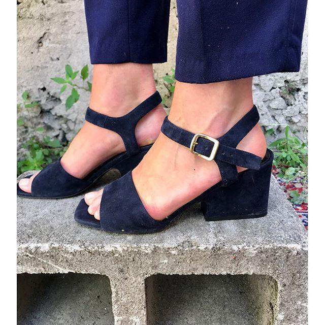 ReLove  - SHOES: Celine Navy Suede open toe day heel.