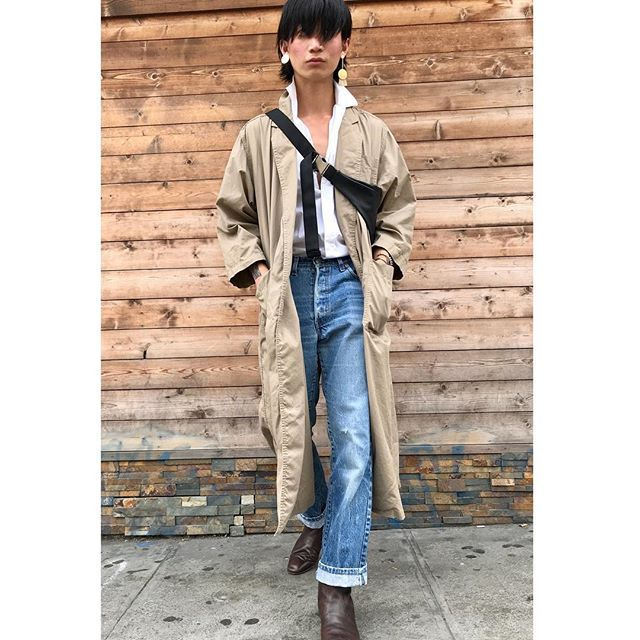 """ReLove  - DUSTER: Evan Picone tan open front trench. Large pockets on both sides. Length top to bottom is 50""""."""