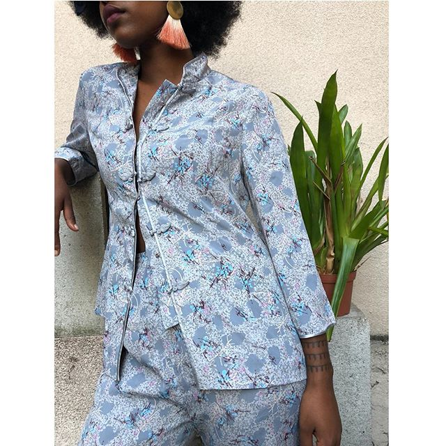ReLove  - SET: Relaxed fit kimono style button down blouse and matching elastic waist trouser.