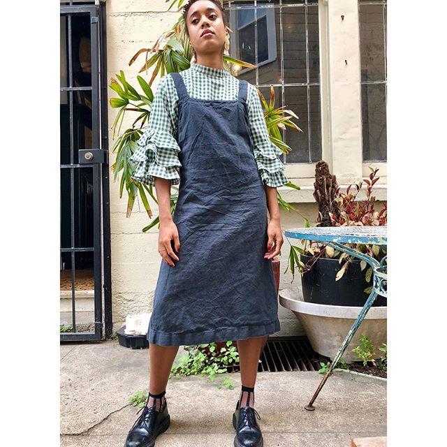 ReLove  -  Mid length linen drop back strap dress by baserange
