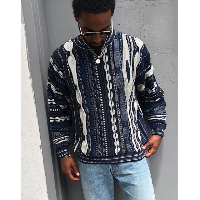 "ReLove  - SWEATER: Vintage ""Coogi"" style woven knit sweater. Blue and white mixed texture."