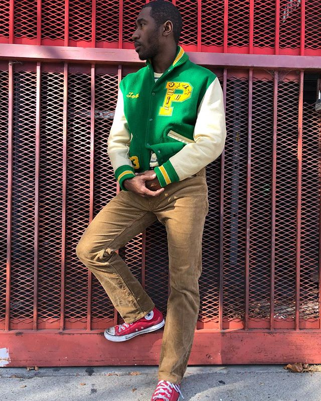 """ReLove  - JACKET: Vintage Varsity Jacket, Felted wool with Leather arms, """"Tom"""" embroidered detail and custom patches, size medium,"""