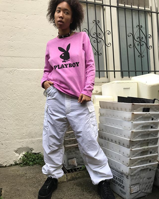 "ReLove  - SWEATSHIRT: #Mondaymood  keeping it cozy in this custom printed bubblegum pink ""Playboy"" crewneck."