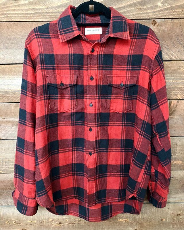 ReLove  -  Saint Laurent red plaid button down flannel.