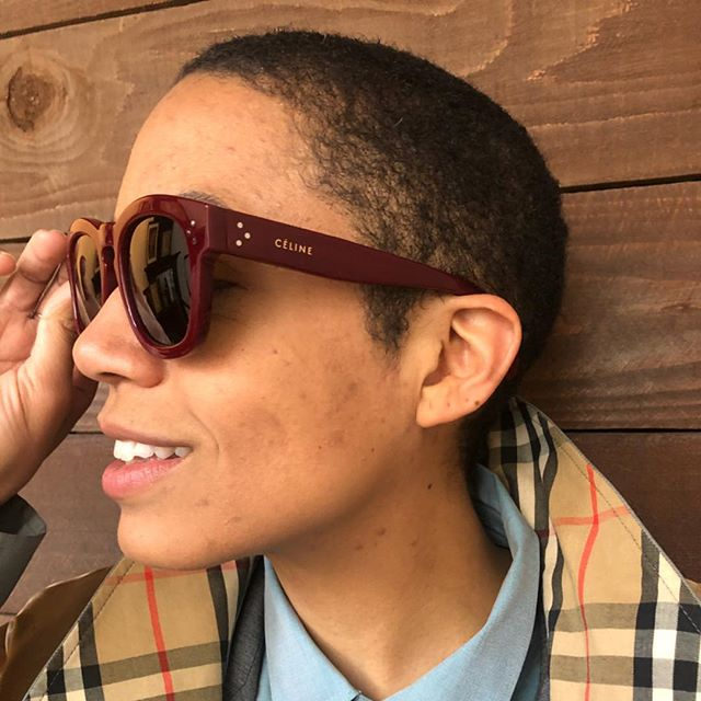 ReLove  -  Céline thick frame square sunglasses in burgundy.