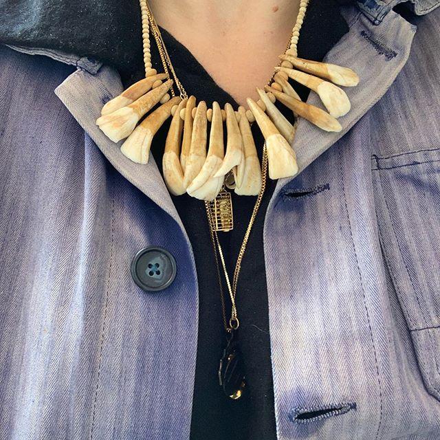 VACATION - Donkey teeth!! DONKEY TEETH!!! Amazing necklace made out of #bone beads and #DONKEY #TEETH!!