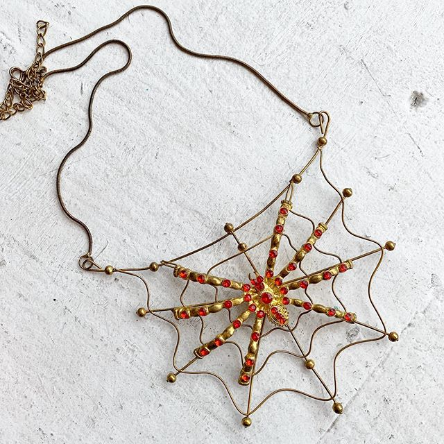 VACATION - 🕷 🕸 Spooky britches step right up 🕸🕷 this costume 70s does 20s style welded wire and rhinestone spider situation is pretty nuts!! Adjustable length! Your very own Spooky creepy little eight legged monster necklace !