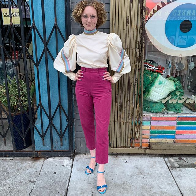 """VACATION - As promised that #1980s does #1880s silk button down the back magical ivory silk with balloon sleeves and pastel strip detail and a super high collar 26-27"""" waist and room for up to a to c cup."""